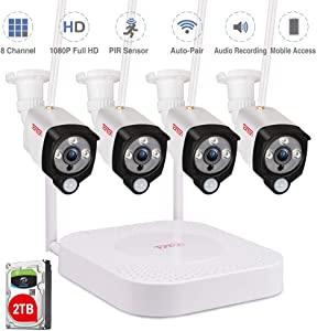 [Expandable&Audio Recording]Tonton 1080P Security Camera System Wireless,8CH NVR Recorder with 2TB HDD and 4PCS 2.0 MP Outdoor Indoor Bullet Wireless IP Cameras with PIR Sensor,Plug and Play,Free App