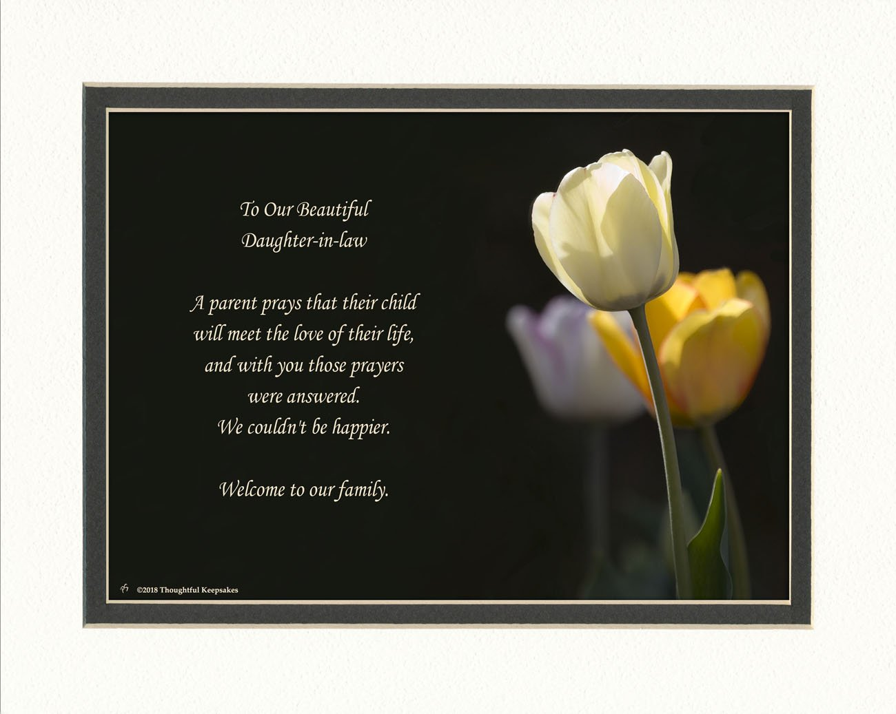 Daughter in Law Gift with Welcome to the Family Poem. White Tulip Photo, 8x10 Double Matted. Special Daughter-in-Law Wedding, Bridal Shower Gift. Great Christmas, Birthday Gifts.