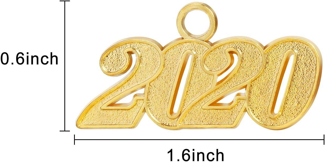 12 St/ücke Abschluss Quaste Charm Anh/änger 2020 Jahr Signet Gold Farbe Charme f/ür Abschluss Quaste Grad Tage oder DIY Handwerk