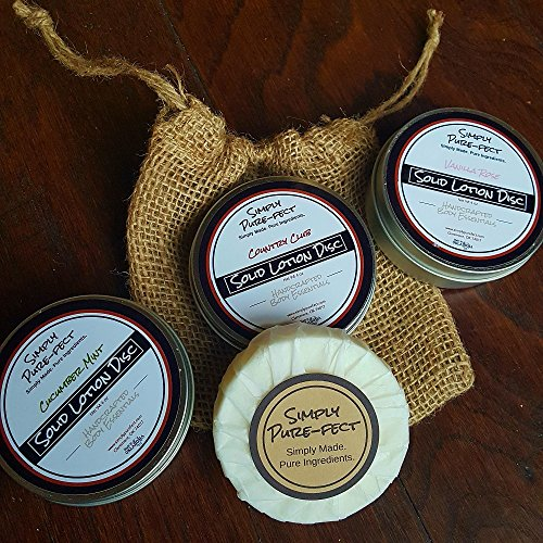 (Hiking Balm Solid Lotion Disc with Shea Butter and Coconut Oil - Tea Tree and Eucalyptus Essential Oils - Healing and Re Hydrating Properties - Great for Traveling - After Running or Hiking)