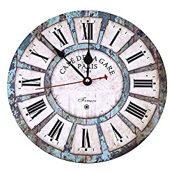 Soledi Wall Clock Decal 12 Vintage Roman Numeral Design France Paris Rusted Metal Look French Country Tuscan Style Paris Wood Wall Clock
