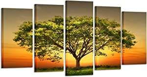 Kreative Arts - Modern 5 Panels Stretched and Framed Giclee Canvas Prints Artwork Sunset Landscape Green Trees Pictures Paintings on Canvas Wall Art for Living Room (Medium Size 40x24inch)