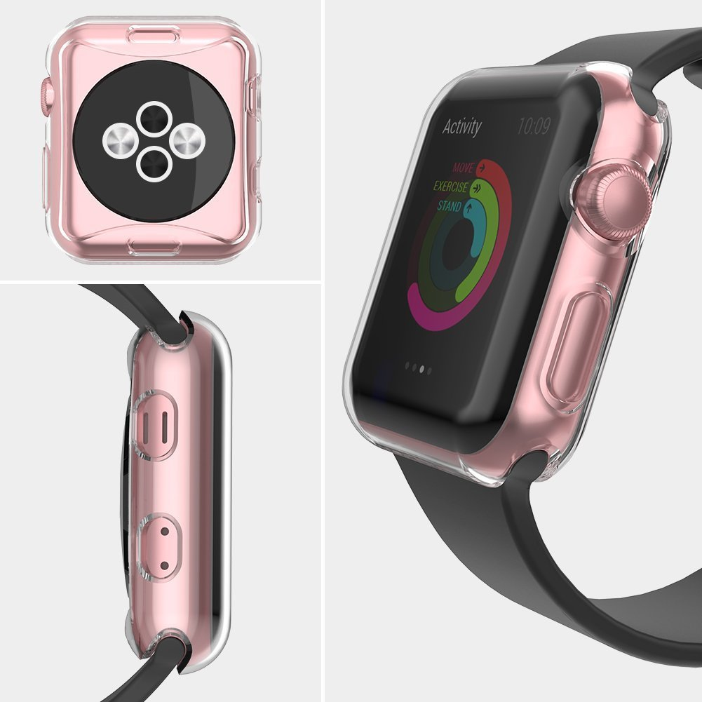LELONG Compatible with Apple Watch Case 38mm 42mm 40mm 44mm, Soft TPU All-Around Clear Screen Protector Cover for iWatch Series 4,Series 3, Series 2 by LELONG (Image #4)
