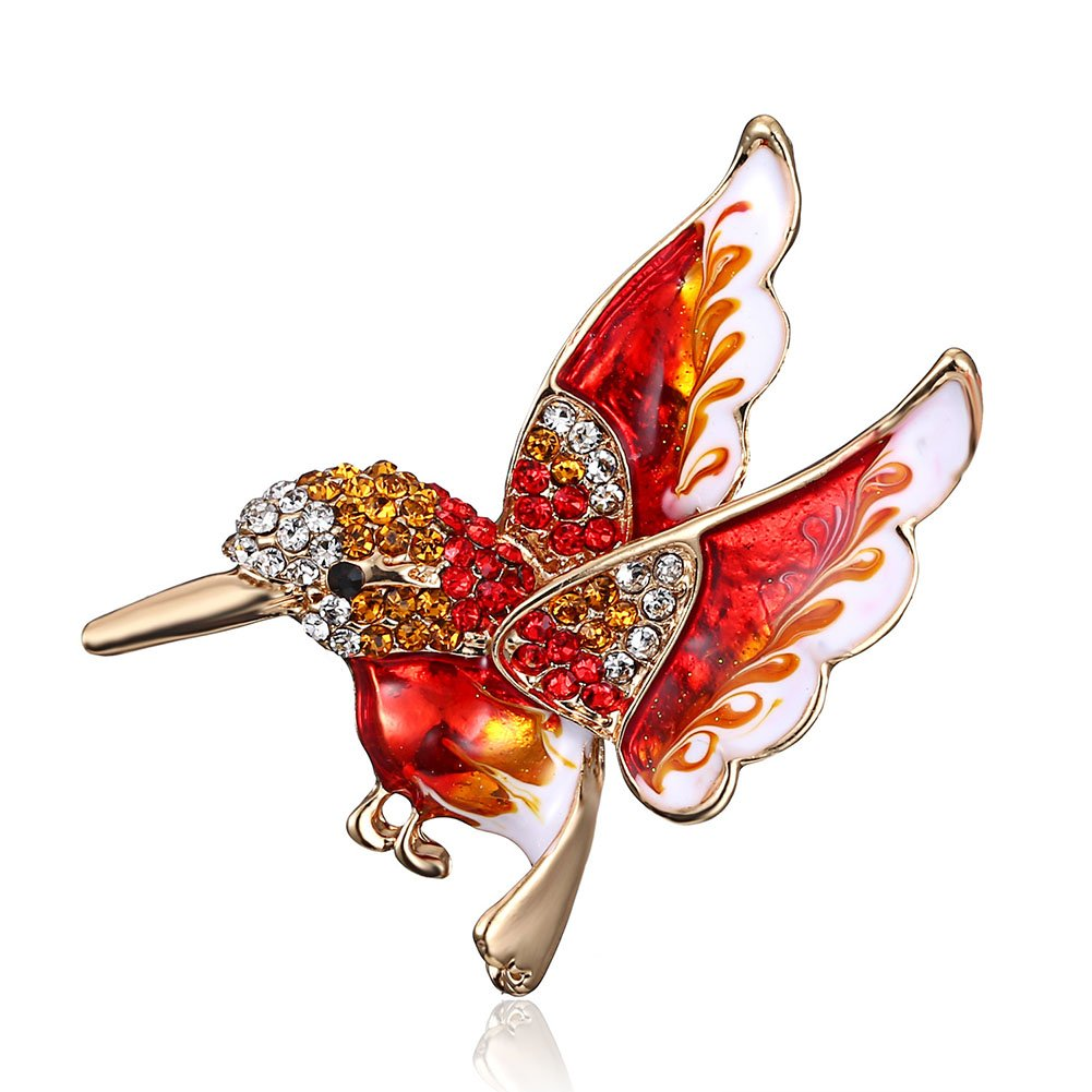 MYANAIL Colorful Crystal Zircon Hummingbird Animal Brooch, Fashion Colored Bird Brooch Pin for Woman (Red)