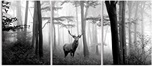 Visual Art Decor Black and White Wall Art Deer in Autumn Foggy Forest Picture Indeer Elk Stag Canvas Prints for Home Living Room Bedroom Wall Decoration Ready to Hang