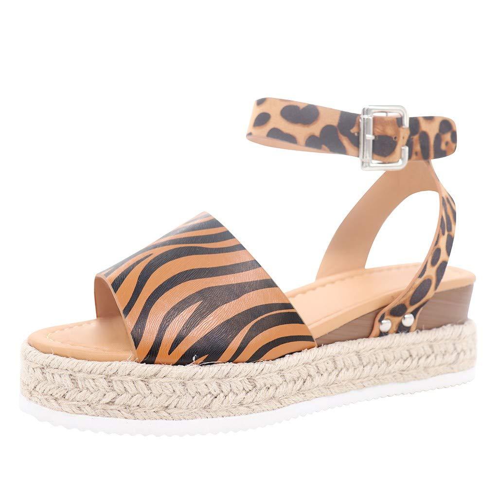 Sunyastor Women's Platform Sandals Casual Espadrilles Sandal Wedge Ankle Strap Studded Buckle Open Toe Ankle Strap Sandals Brown