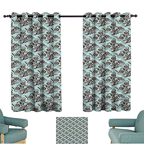 (SONGDAYONE Art Nouveau Home Curtain Vintage Swirls Vibrant Foliage Damask Style Classic Renaissance Cafe Curtain Seal Brown and Pale Blue (2 Panels,W84 xL72))