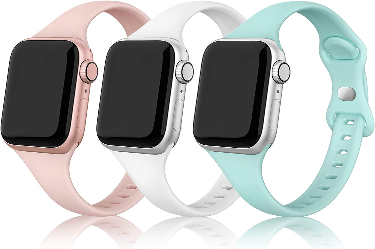 SWEES Sport Band Compatible with iWatch 38mm 40mm 42mm 44mm, 3 Packs Narrow Soft Silicone Slim Thin Small Replacement Wristband Compatible for iWatch Series 6 5 4 3 2 1 SE Sport Edition Women Men
