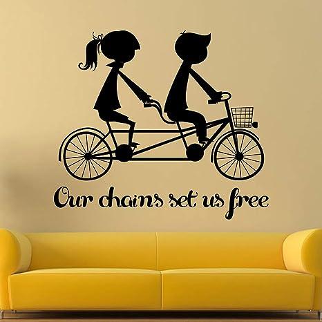 Romántico Arte Tatuajes de Pared Amante Montar Bicicleta Silueta ...