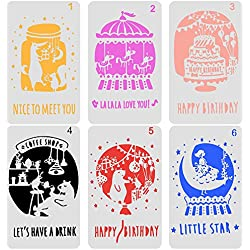 COCODE Plastic Birthday Greeting Card Stencil Template Set of 6 Pecfect for Notebook/Diary/Journal/Graffiti/Scrapbook/Happy Birthday Gift Card Handmade DIY Drawing Painting Craft Projects 4.1x7.1 Inch