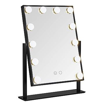 Beautify Miroir de Maquillage Lumineux — 12 Ampoules LED — Miroir Style  Hollywood pivotant sur Pied — Fonctionnement Tactile — Luminosité réglable  — ...
