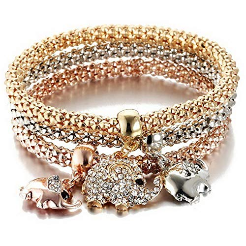 Mikash Women Girls 3Pcs/Set Gold Silver Rose Gold Bracelets Rhinestone Bangle Jewelry | Model BRCLT - 12077 |