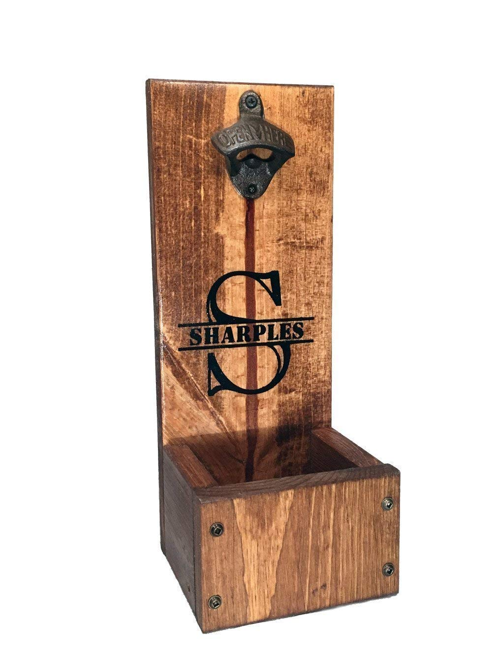 Bottle Opener with Cap Catcher - Wall Mount or Freestanding - Personalized Rustic Wood Gift - Groomsmen, Wedding and Anniversary gift sets