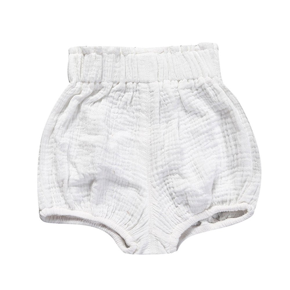 Birdfly Toddler Baby Basic Bloomers Diaper Cover Infant Boys Girls Bottom Shorts Cotton Clothes (18M, White)