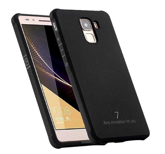 Schutzhülle Huawei Honor 7 Hülle, Business Serie Stoßfest Ultra Dünn Weich Silikon Rückseite Fall für Huawei Honor 7 (Schwarz
