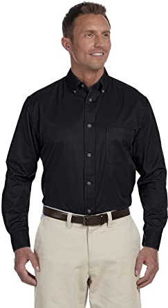 2d494fe5 Harriton Men's Long-Sleeve Stain-Release Twill Dress Shirt, Black, XXX-
