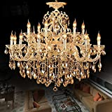 non-brand Zinc Alloy Body Crystal Chandelier 18 Lights Arms Lamp Color Gold