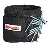 Magnetic Wristband, Magnet Arm Band - 10 Strong Neodymium Magnets embedded throughout wristband for holding nails, screws, bits, fasteners, washers, bolts, small tools, and much more.