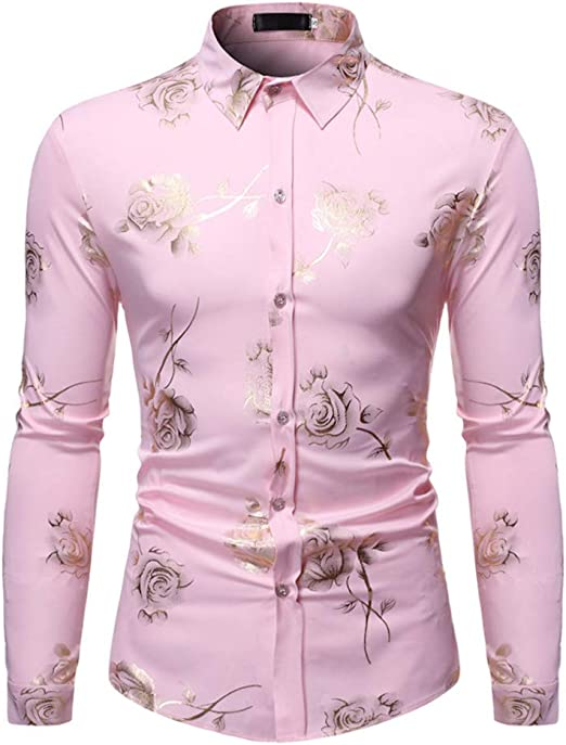 LISILI Camisa De Hombre Club Nocturno Brillante Dorado Rosa ...