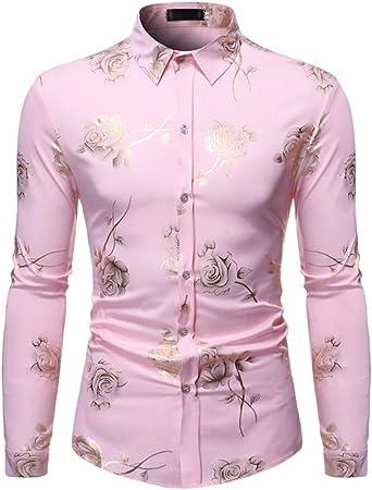 LISILI Camisa De Hombre Club Nocturno Brillante Dorado Rosa 3D Impreso Manga Larga Ajustado Abotonar Partido Camisa De Vestir,Rosado,L: Amazon.es: Hogar