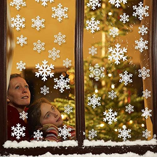 LeeSky 81Pcs White Snowflake Window Clings Christmas Snowflake Sticker Window Decorations -Christmas Holiday Home Decor]()