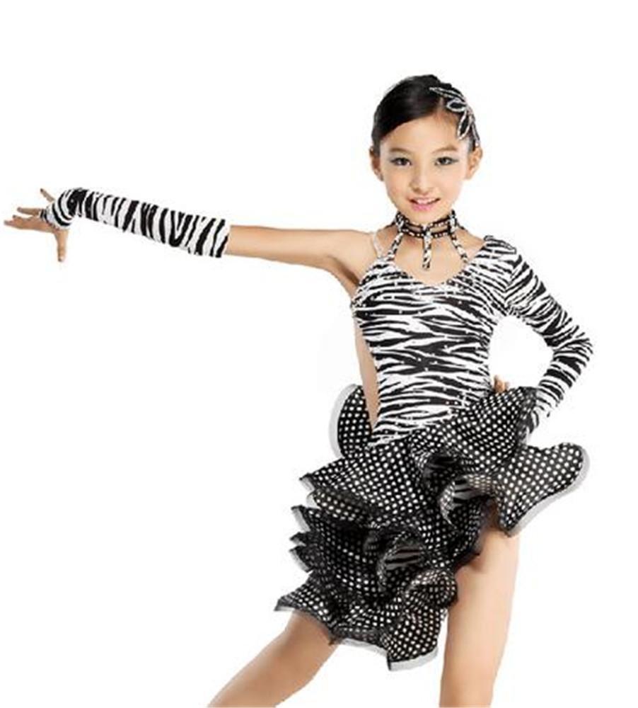 Peiwen Ensemble de Danse Latine zèbre de Fille Danse de Danse Latine