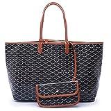 CharlestonDe Lady Tote PU Leather Shoulder Bag Set (GM Size, Blackbrown)