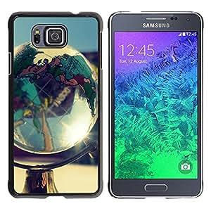 QCASE / Samsung GALAXY ALPHA G850 / globo continentes goegraphy planeta tierra / Delgado Negro Plástico caso cubierta Shell Armor Funda Case Cover