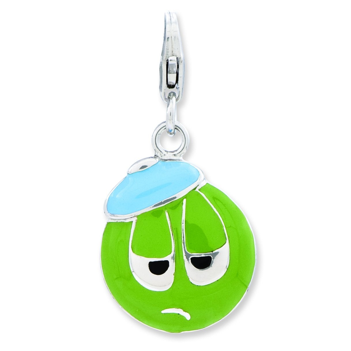 Sterling Silver Enameled 3-D Sad Face W//Lobster Clasp Charm