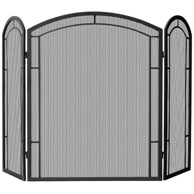 Uniflame 3-Fold Wrought Iron Screen, Black ()