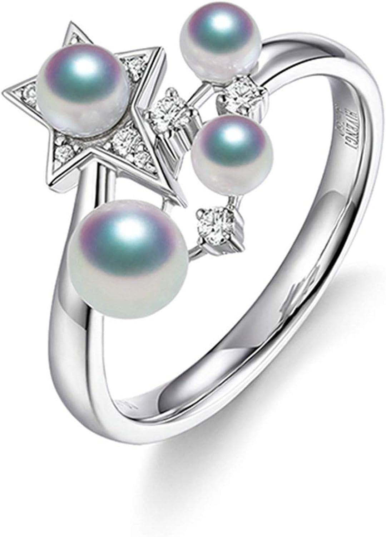 Beydodo Anillo Oro Blanco 18K Mujer Anillo Mujer Estrella con Perlas Diamante 0.09ct Anillo Plata