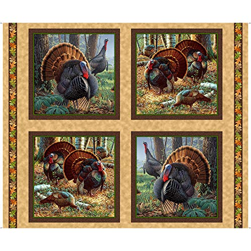 - Quilting Treasures Will Turkey Gobbler Hill 4 Panel Cotton Fabric
