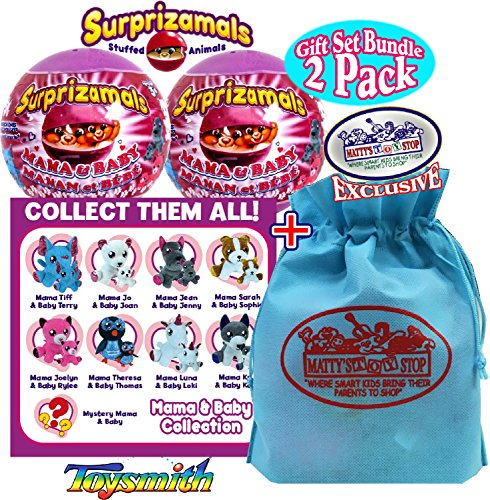 Surprizamals Mama & Baby Stuffed Animals Surprise Mystery Plush in a Ball Gift Set Party Bundle with Exclusive Mattys Toy Stop Storage Bag - 2 Pack (Assorted)