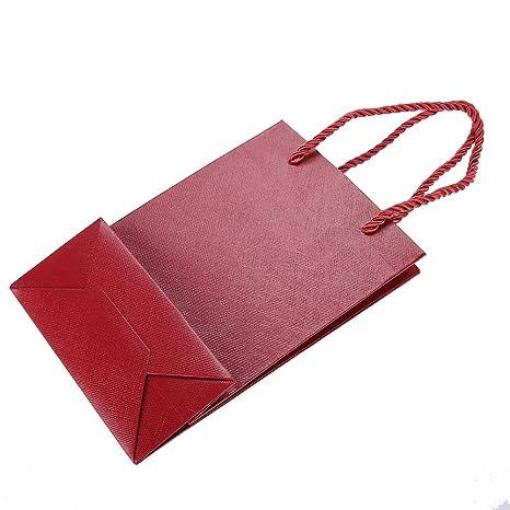 Juego de 10 bolsas de regalo de papel con asa sólida, bolsas ...