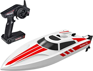 POCO DIVO Triple Stripe RC Racing Boat 30kmph High Speed Yacht Capsize Recovery Outdoor Pool Lake Electric Watercraft 2.4Ghz Trigger Remote Controlled for Kids & Adults, White