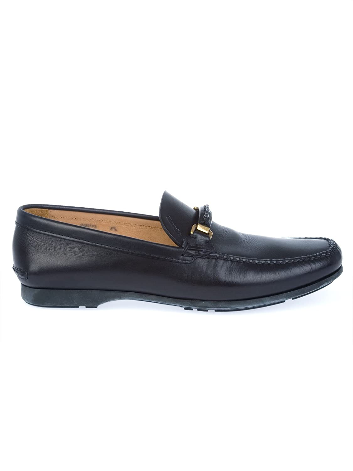 Men's ARONSOFTCALFNAVY Black Leather Loafers