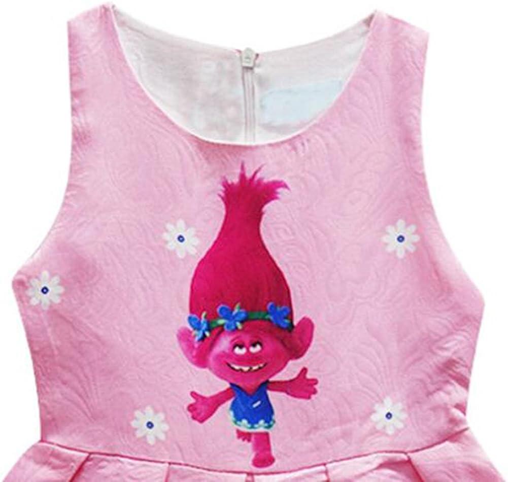 KIDHF Trolls Little Girl Princess Cartoon Party Princess Dress