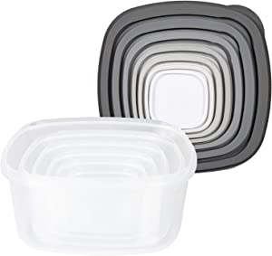 Cook with Color Square Food Storage Containers with Lids, Easy-Find Nesting Plastic Containers, 14 Piece Set (Grey Ombre)