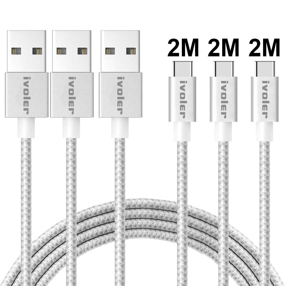 iVoler Cable USB Tipo C a USB A 3.0 [3 Pack: 2M+2M+2M] Cargador USB Tipo C de Nylon Trenzado Carga Rápida y Sincronización Compatible con Samsung, Xiaomi, ...