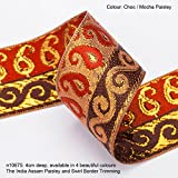Neotrims Paisley & Swirl Floral Jacquard on Antique Old Gold Metallic Base Ribbon Trim Decoration; Traditional 9 meters Reel for Sari Border. Also for Salwar Kameez, For Crafts and Home Interior Décor. 4cms Deep Border, Upright Decorative Paisley design set on a Vintage Old Gold Metallic base with Stunning Bright Rayon colours in pattern. 10 Gorgeous Colours. The Assam Paisley Design trim. Buy by the 3 meter or 1 reel of 9 meters Sari length. Bargain Price for 1 Reel!