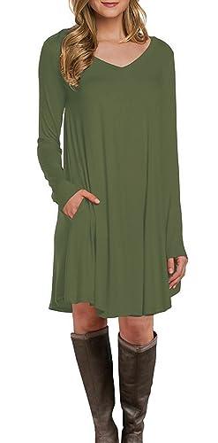 Women's Long Sleeve V-Neck Pocket Casual Loose Swing T-shirt Dress