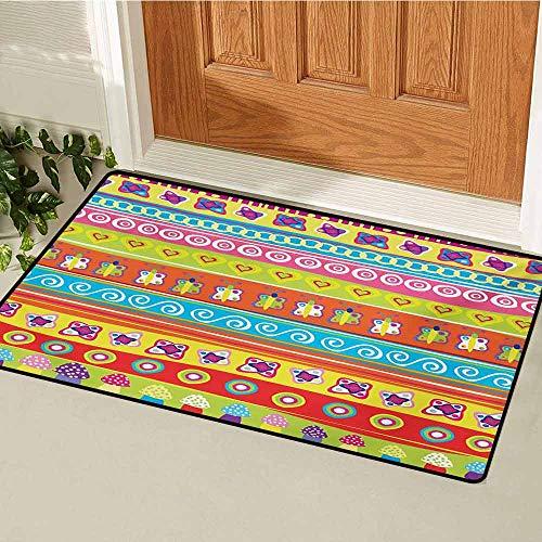 GUUVOR Doodle Universal Door mat Various Doodles with Lines Separating Them Mushrooms Butterflies Retro Inspired Art Door mat Floor Decoration W23.6 x L35.4 Inch Multicolor
