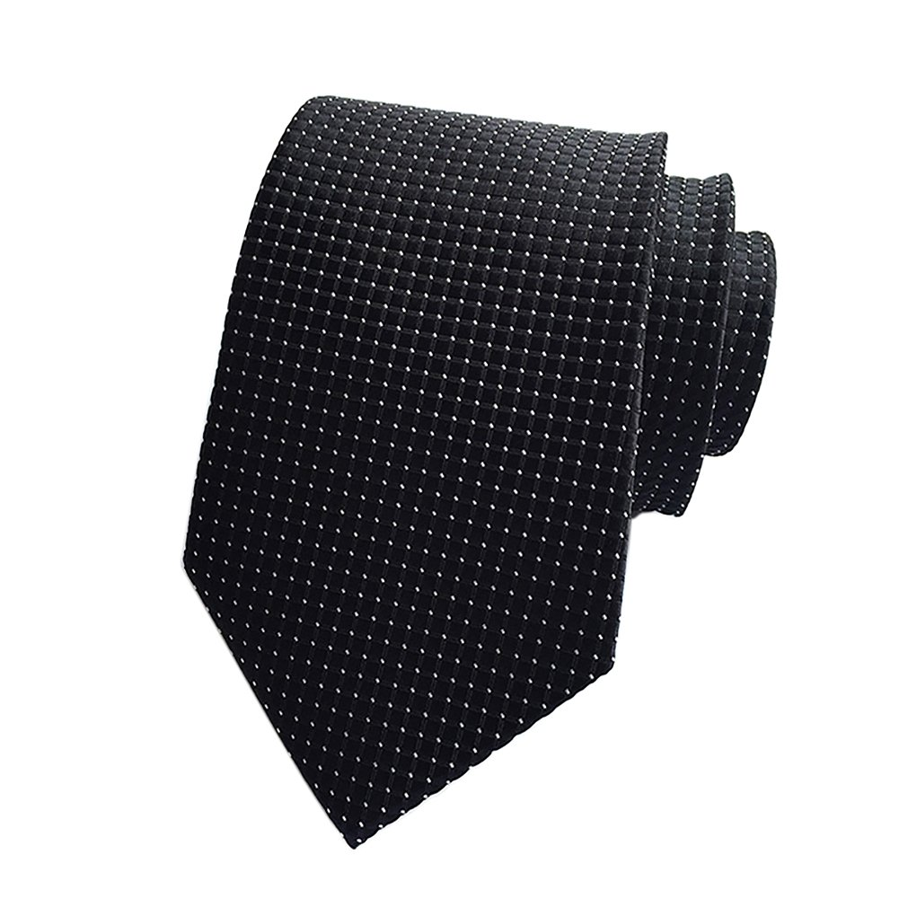 Pisces.goods New Black Checked Jacquard Woven Men's Tie Necktie