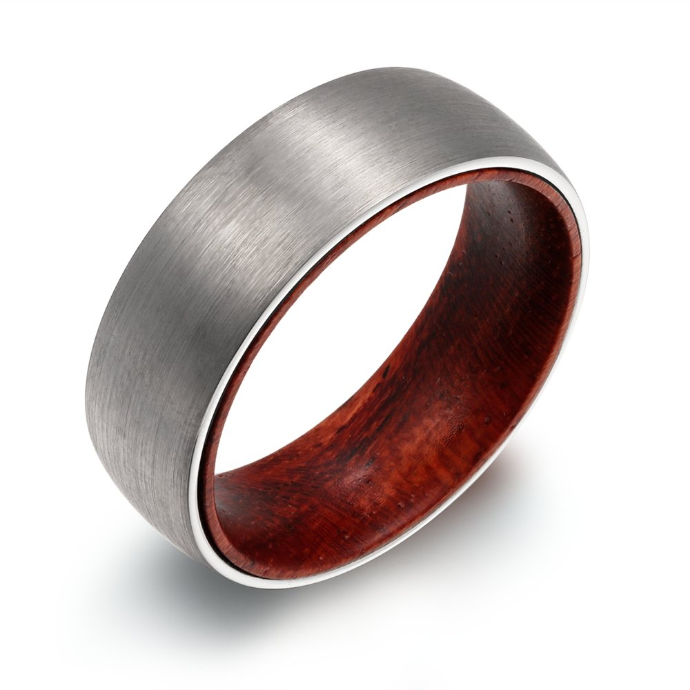 POYA 8mm Tungsten Ring Matte Finish Domed Wedding Band with Wood Sleeve Interior Comfort Fit (11)