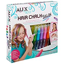 ALEX Spa Hair Chalk Salon Craft Kit lets your diva make her hair as vibrant as her personality! Glide on temporary color and add strands of shimmering beads to do up her do! Hair chalk can be applied to dry hair of any color and washes out ea...