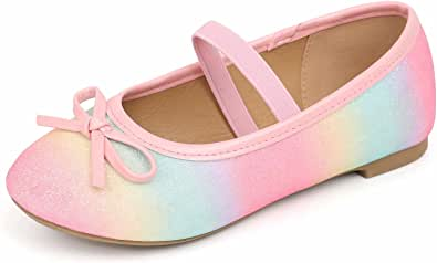 MUSSHOE Girl's Dress Shoes,Girls' Flats,Toddler Little Girls Cute Glitter Ballet Flats Shoes,Bow Flower Girls Ballet Mary Jane Flats (Toddler/Little Kid/Big Kid),Colorful 13