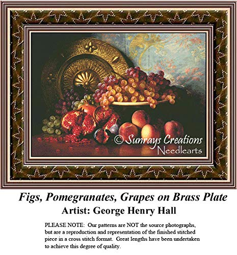 (Sunrays Creations Fine Art Cross Stitch Patterns | Figs, Pomegranates, Grapes on Brass Plate (Pattern Only, You Provide The Floss and Fabric))