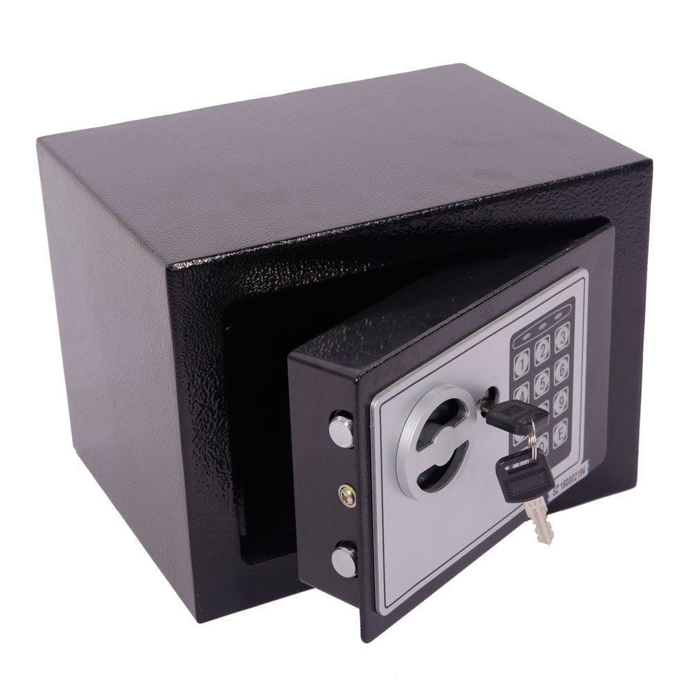 Marketworldcup - Digital Electronic Safe Box Keypad Lock Home Office Hotel Gun Steel Black