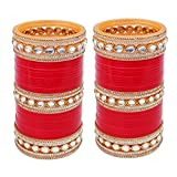 Lucky Jewellery Bangle Set for Women (Red) (1848-G1C1-1013-R28)