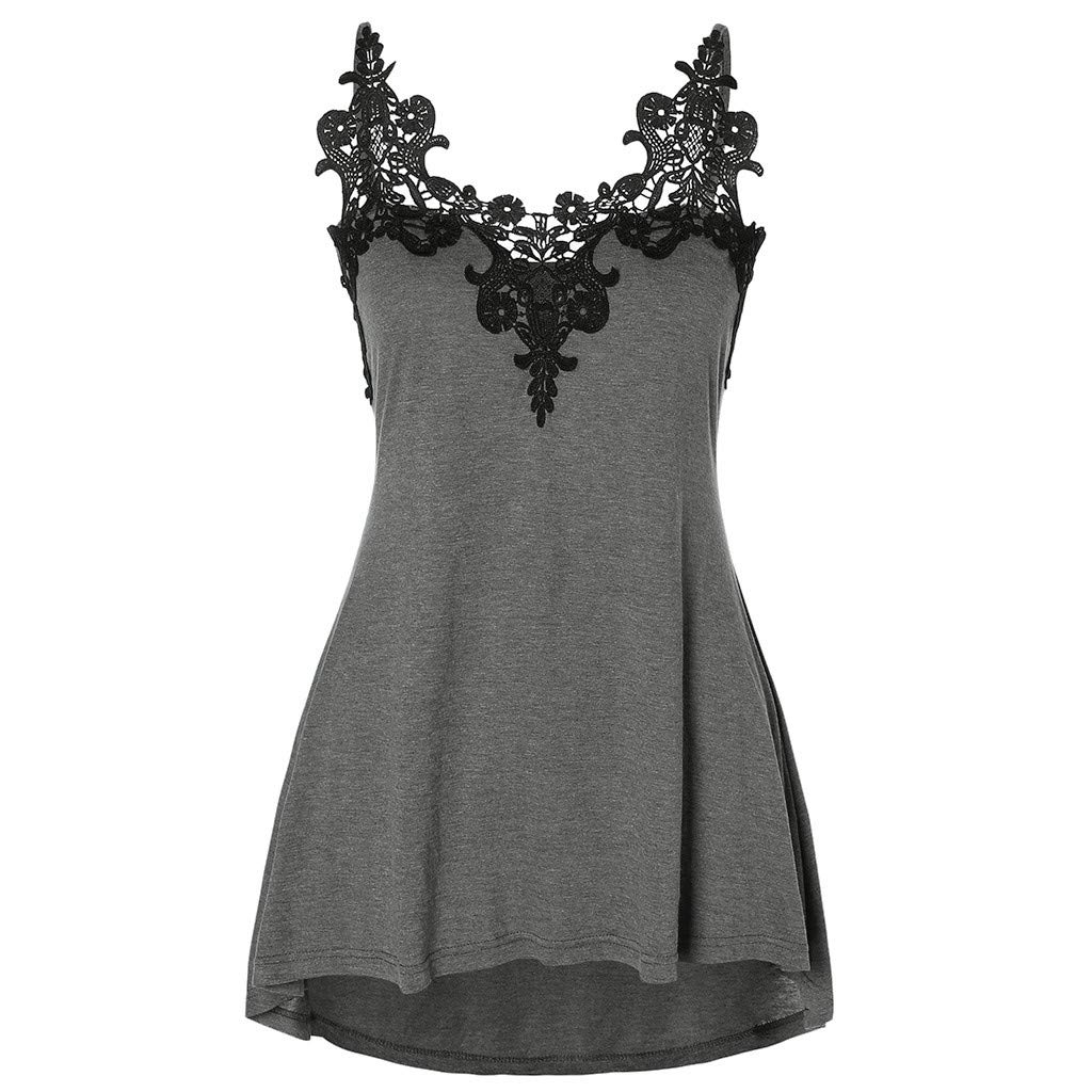 DAYPLAY Women Plus Size Sexy Embellished Halter Neck Vest Blouse Lace Tank Sling Tops 2019 Sale Summer Gray